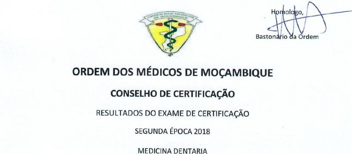 Pauta do exame de Certificação Medicina Dentária 2 época